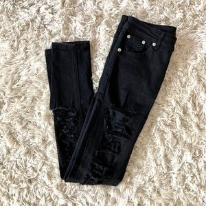 NWOT Forever21 Black Ripped HighWaist Skinny Jeans